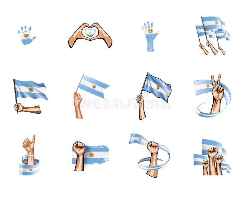 Σημαία και χέρι της Αργεντινής στο άσπρο υπόβαθρο επίσης corel σύρετε το διάνυσμα απεικόνισης ελεύθερη απεικόνιση δικαιώματος