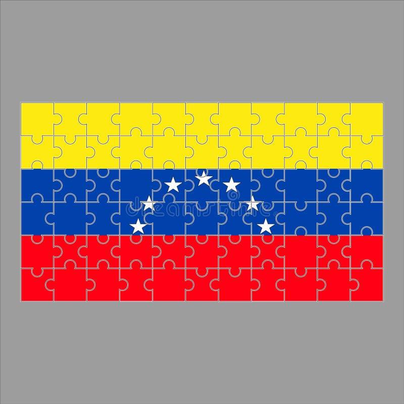 Σημαία της Βενεζουέλας από τους γρίφους σε ένα γκρίζο υπόβαθρο διανυσματική απεικόνιση