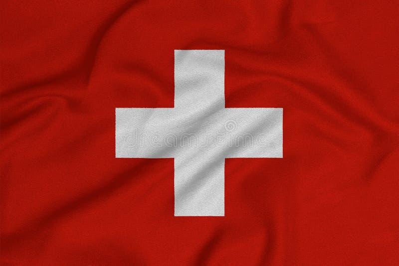 Σημαία της Ελβετίας από το πλεκτό εργοστάσιο ύφασμα Υπόβαθρα και συστάσεις στοκ φωτογραφίες με δικαίωμα ελεύθερης χρήσης