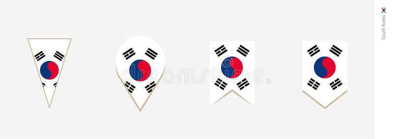 Σημαία της Νότιας Κορέας στο κάθετο σχέδιο, διανυσματική απεικόνιση απεικόνιση αποθεμάτων