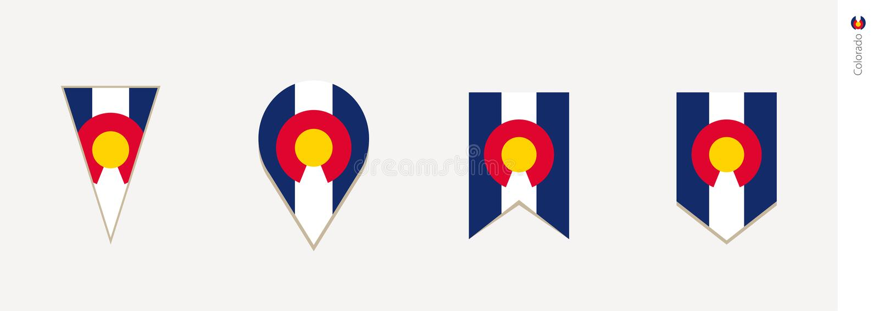 Σημαία του Κολοράντο στο κάθετο σχέδιο, διανυσματική απεικόνιση διανυσματική απεικόνιση