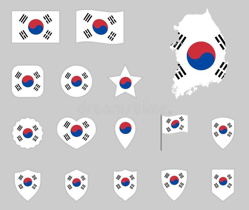 Σημαία του συνόλου της Νότιας Κορέας, εικονίδια εθνικών σημαιών Δημοκρατίας της Κορέας απεικόνιση αποθεμάτων
