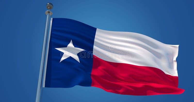 Σημαία του Τέξας στον αέρα, τρισδιάστατη απεικόνιση απεικόνιση αποθεμάτων