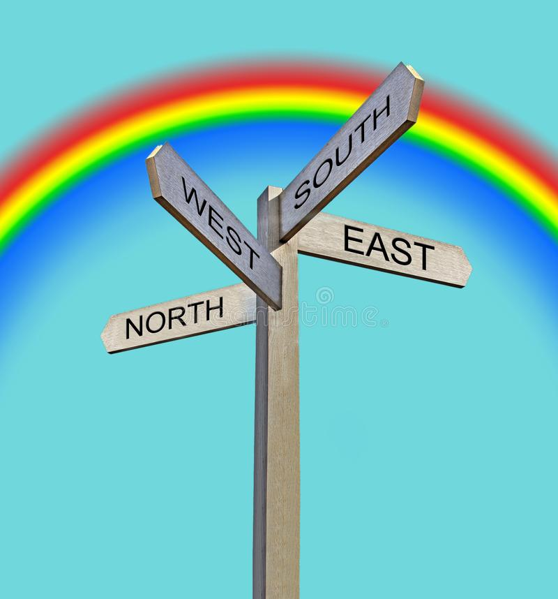 Σημείο κατεύθυνσης βελών σημαδιών ουράνιων τόξων μετα βόρειο δύση στοκ φωτογραφίες με δικαίωμα ελεύθερης χρήσης