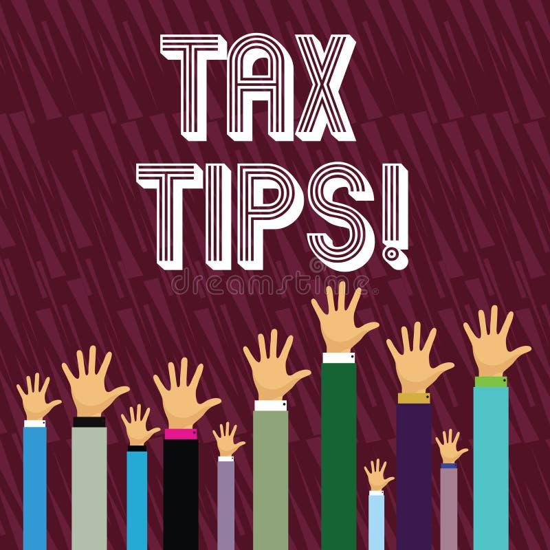 Σημείωση γραψίματος που παρουσιάζει φορολογικές άκρες Ιδέες βοήθειας επίδειξης επιχειρησιακών φωτογραφιών για μείωση φορολογικών  απεικόνιση αποθεμάτων