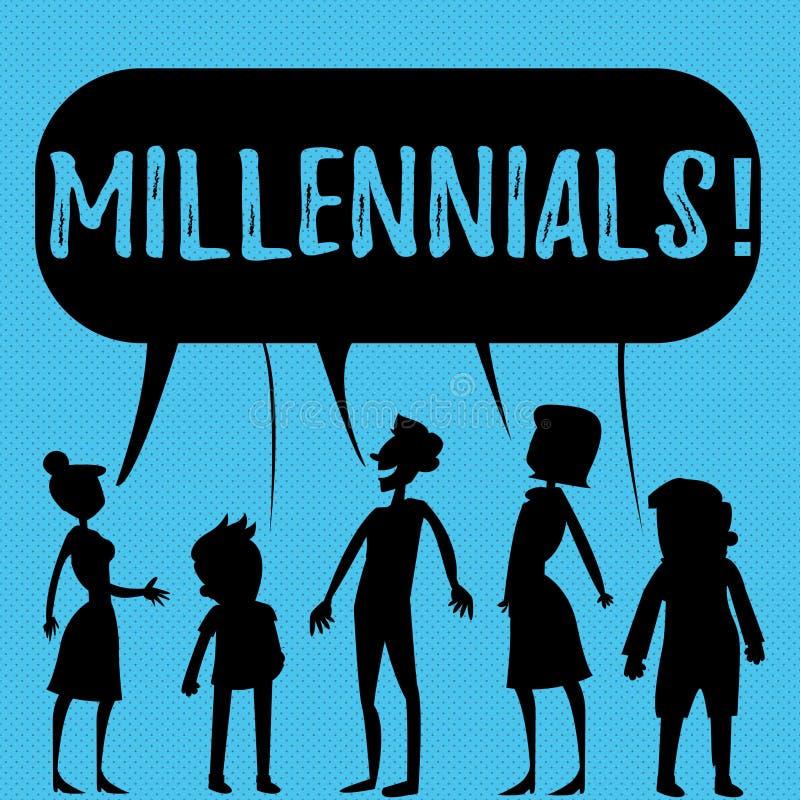 Σημείωση γραψίματος που παρουσιάζει Millennials Παραγωγή Υ το γεννημένο από το 1980 s επίδειξης επιχειρησιακών φωτογραφιών σε 200 απεικόνιση αποθεμάτων