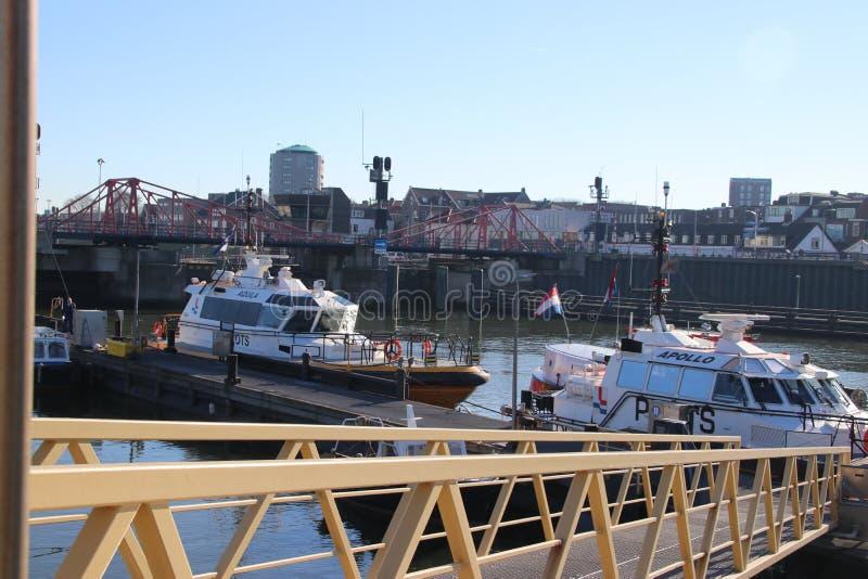 Σκάφη Loodswezen, η ολλανδική οργάνωση για τους πιλότους για να καθοδηγήσουν τα σκάφη στο λιμάνι IJmuiden στοκ φωτογραφίες