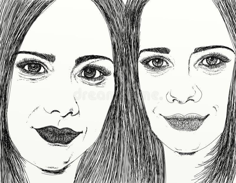 Σκίτσο κινηματογραφήσεων σε πρώτο πλάνο δύο γυναικών διανυσματική απεικόνιση