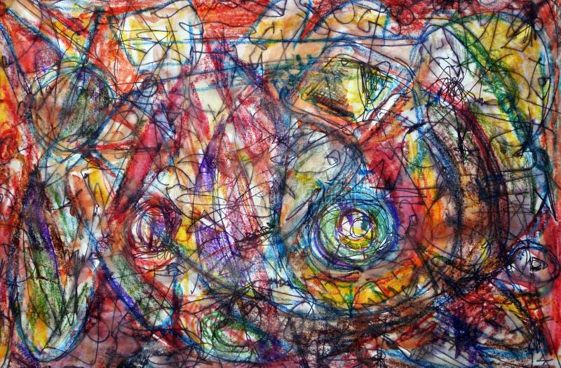 Σκίτσο στο ύφος αφηρημένο expressionism αφηρημένη ανασκόπηση Μίμηση του Τζάκσον Pollock διανυσματική απεικόνιση