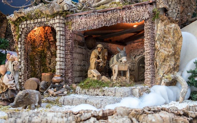 Σκηνή Nativity Χριστουγέννων - μωρό Ιησούς, Mary, Joseph και ζώα στοκ φωτογραφία με δικαίωμα ελεύθερης χρήσης