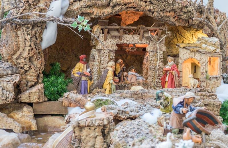 Σκηνή Nativity Χριστουγέννων - μωρό Ιησούς, Mary, Joseph στοκ φωτογραφίες