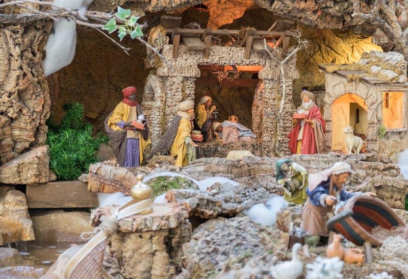 Σκηνή Nativity Χριστουγέννων - μωρό Ιησούς, Mary, Joseph στοκ φωτογραφίες με δικαίωμα ελεύθερης χρήσης