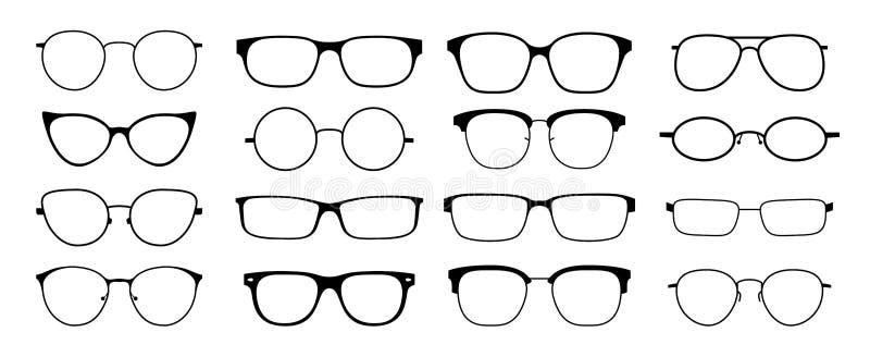 Σκιαγραφία γυαλιών Το σύνολο πλαισίων γυαλιών ήλιων hipster, διαμορφώνει τα μαύρα πλαστικά πλαίσια, στρογγυλά geek γυαλιά nerd ύφ απεικόνιση αποθεμάτων