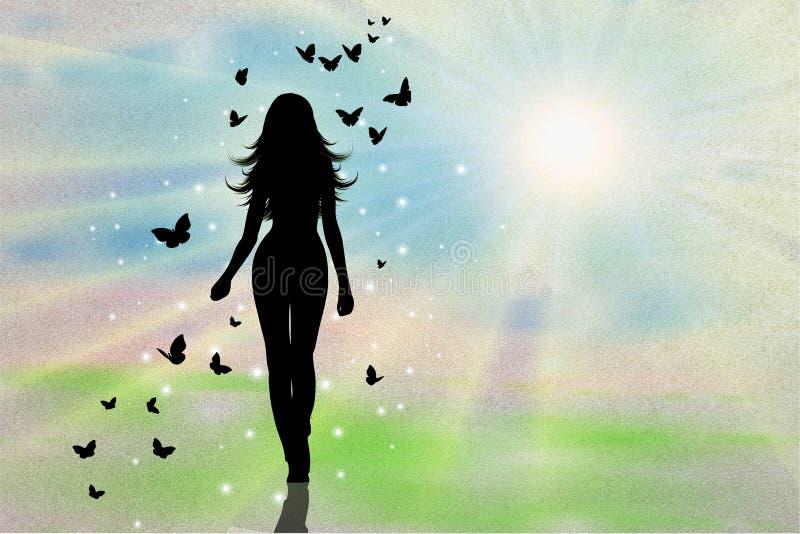 Σκιαγραφία γυναικών με την πεταλούδα ελεύθερη απεικόνιση δικαιώματος