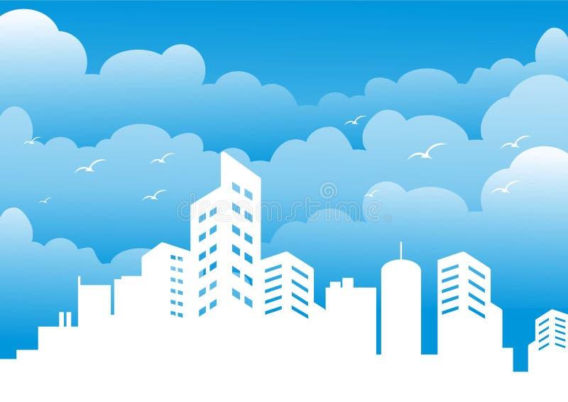 Σκιαγραφία της πόλης το μεσημέρι ελεύθερη απεικόνιση δικαιώματος