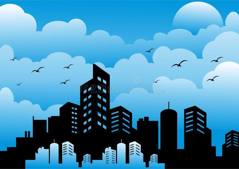 Σκιαγραφία της πόλης το μεσημέρι απεικόνιση αποθεμάτων