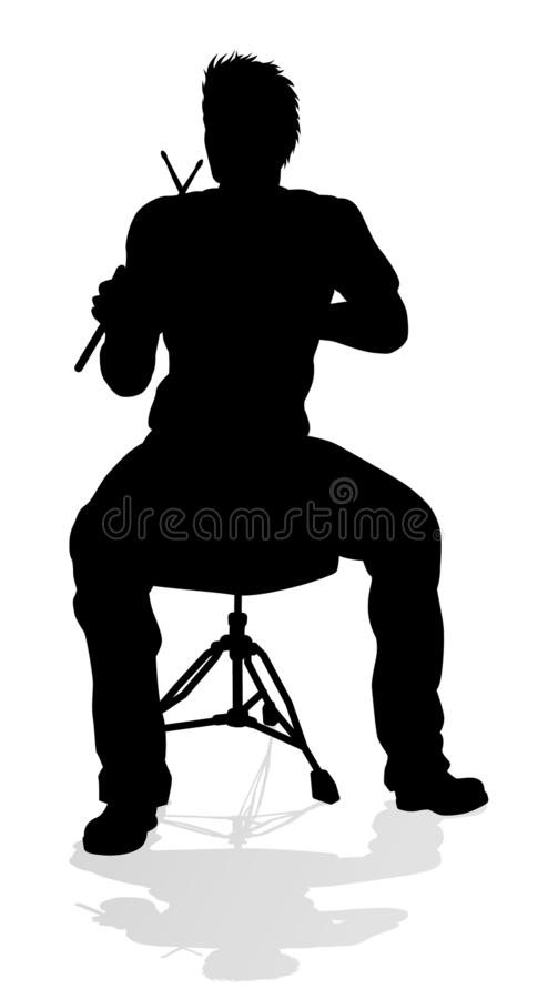 Σκιαγραφία τυμπανιστών μουσικών απεικόνιση αποθεμάτων