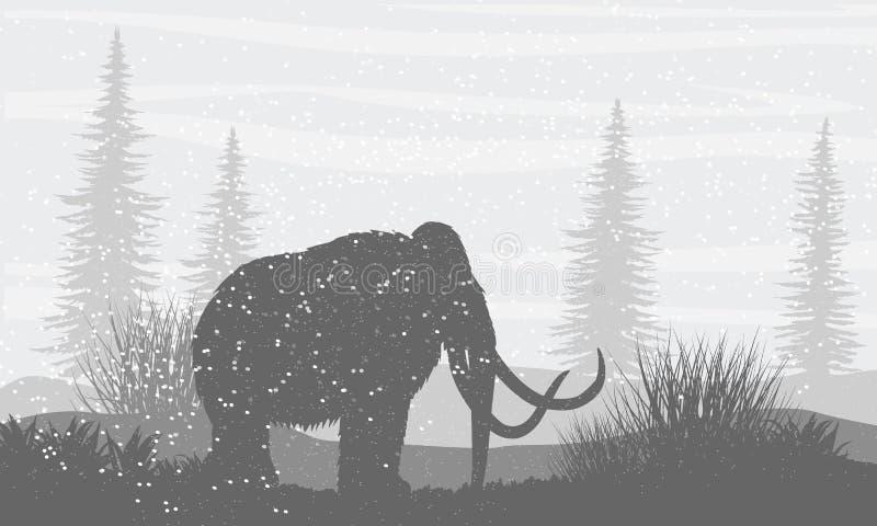 σκιαγραφία Προϊστορικό μαμούθ σε μια χιονώδη πεδιάδα χιονοπτώσεις Τα κωνοφόρα δέντρα έφαγαν στον ορίζοντα διανυσματική απεικόνιση