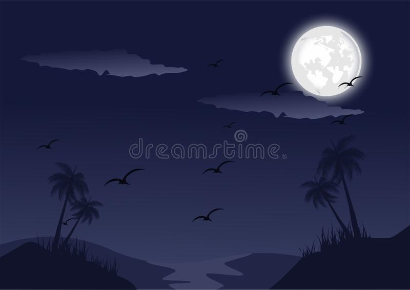 Σκιαγραφιών διανυσματική εικόνα τοπίων νύχτας εν πλω ελεύθερη απεικόνιση δικαιώματος