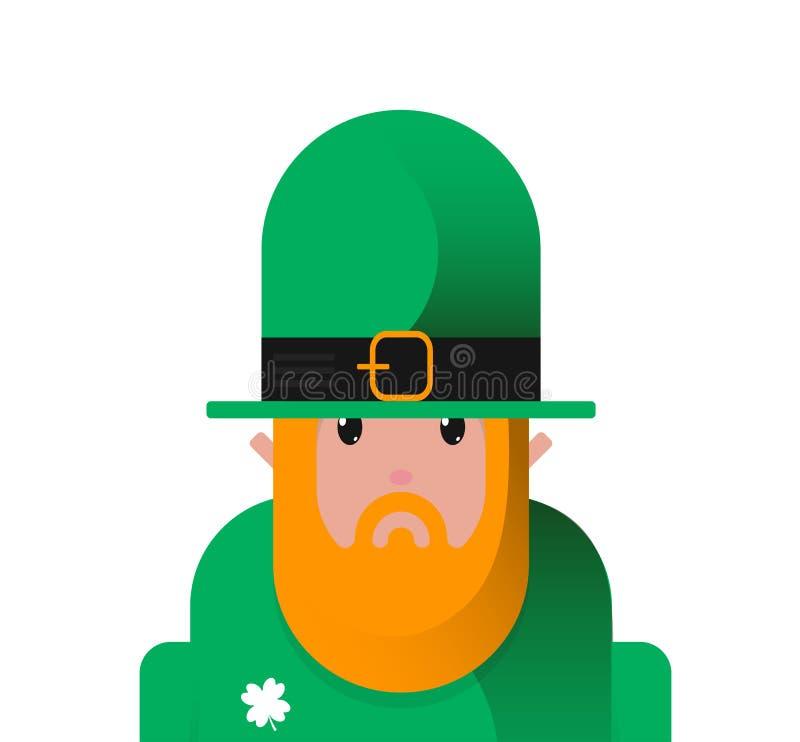 Σκληρός χαρακτήρας ημέρας Leprechaun ST Patricks εικονιδίων κινούμενων σχεδίων επίπεδος, είδωλο για τις ιρλανδικές διακοπές απεικόνιση αποθεμάτων