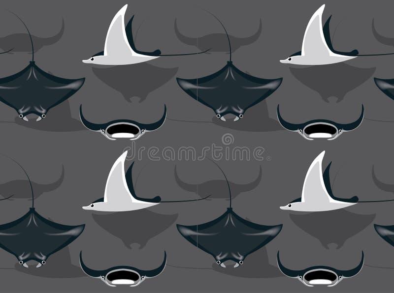 Σκόπελος Manta Ray Cartoon Background Seamless Wallpaper απεικόνιση αποθεμάτων