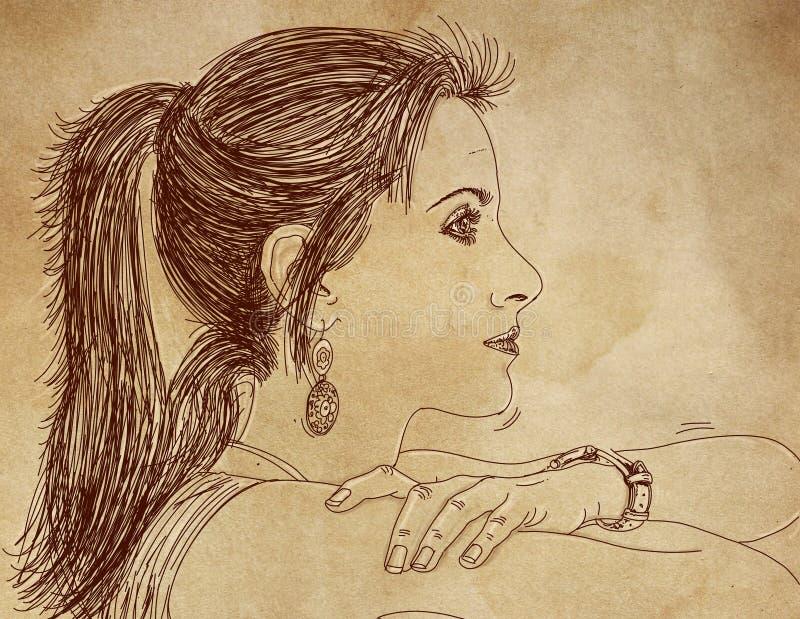 Σοβαρό σκίτσο σχεδιαγράμματος γυναικών ελεύθερη απεικόνιση δικαιώματος