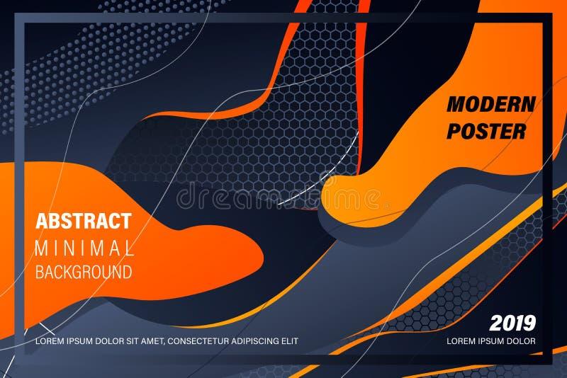 Σύγχρονη ζωηρόχρωμη αφίσα ροής Υγρή μορφή κυμάτων στο μαύρο υπόβαθρο χρώματος Σχέδιο τέχνης για το πρόγραμμα σχεδίου σας διάνυσμα διανυσματική απεικόνιση