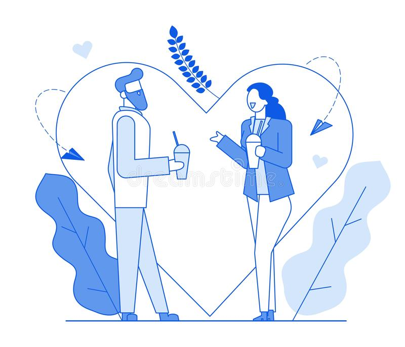 Σύγχρονη ρομαντική ομιλία χαρακτήρων ανθρώπων γραμμών κινούμενων σχεδίων επίπεδη, λεπτή απεικόνιση ύφους περιγράμματος Νέος χαρακ διανυσματική απεικόνιση