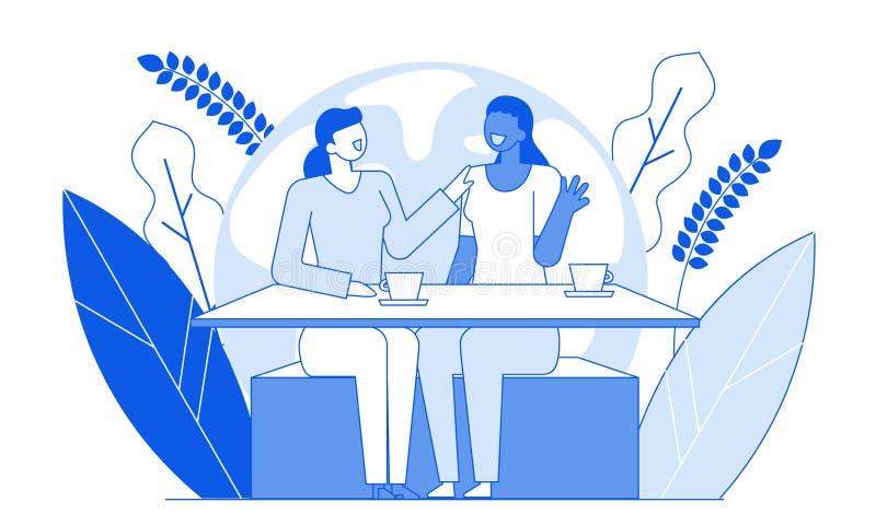 Σύγχρονοι φίλοι κοριτσιών χαρακτήρων ανθρώπων γραμμών κινούμενων σχεδίων επίπεδοι που μιλούν, έννοια επικοινωνίας συνομιλίας Νεολ ελεύθερη απεικόνιση δικαιώματος