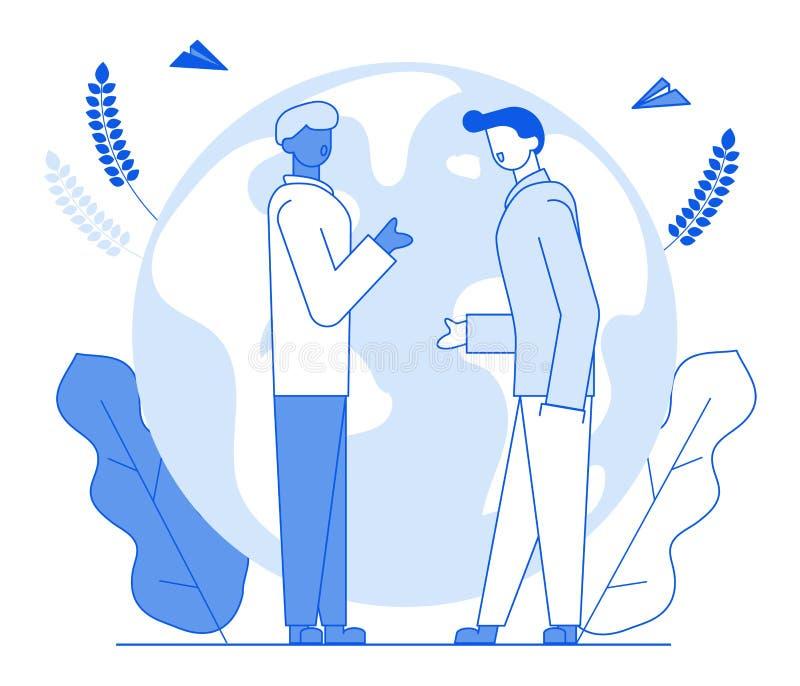 Σύγχρονοι φίλοι χαρακτήρων ανθρώπων γραμμών κινούμενων σχεδίων επίπεδοι που μιλούν, έννοια επικοινωνίας συνομιλίας Νέος χαρακτήρα διανυσματική απεικόνιση