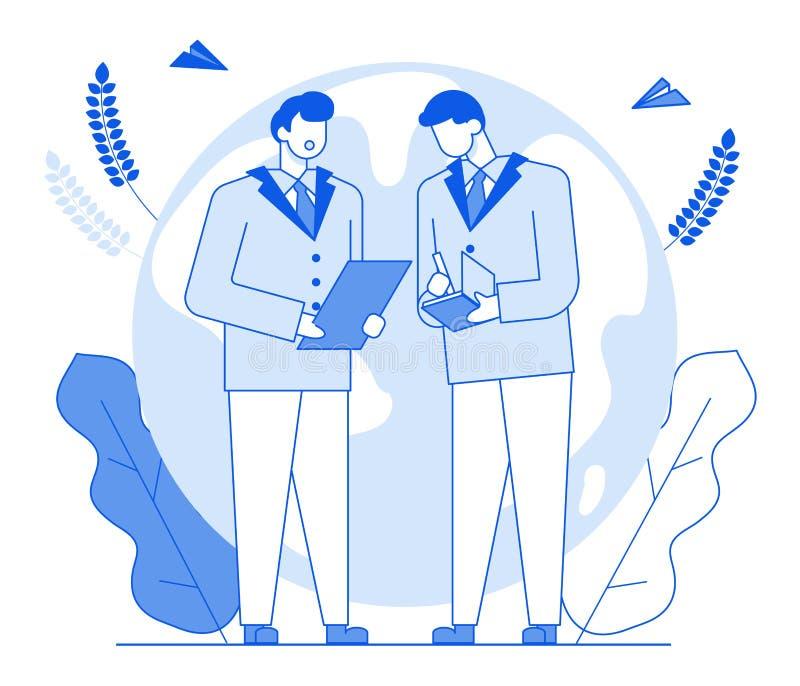 Σύγχρονοι χαρακτήρες ανθρώπων γραμμών κινούμενων σχεδίων επίπεδοι που μιλούν, λεπτή απεικόνιση ύφους περιγράμματος Επιχείρηση ανθ ελεύθερη απεικόνιση δικαιώματος