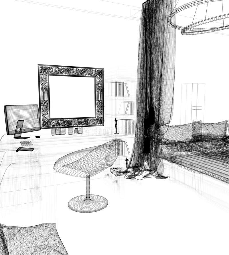 Σύγχρονος εργασιακός χώρος στην εγχώρια εσωτερική, τρισδιάστατη απόδοση ελεύθερη απεικόνιση δικαιώματος