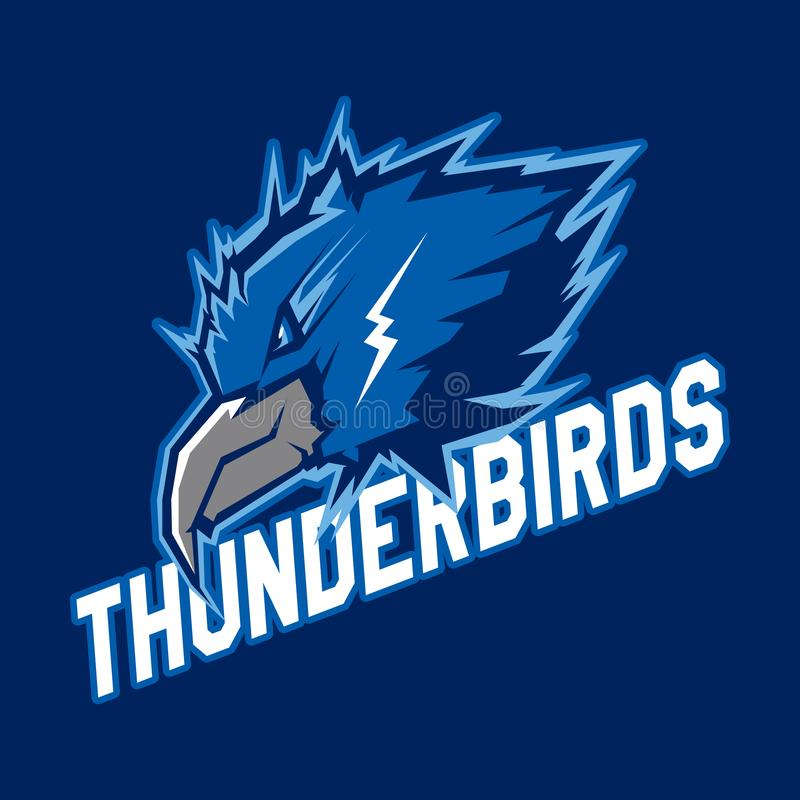Σύγχρονο επαγγελματικό λογότυπο για την αθλητική ομάδα Μασκότ πουλιών βροντής Thunderbirds, διανυσματικό σύμβολο σε ένα σκοτεινό  διανυσματική απεικόνιση