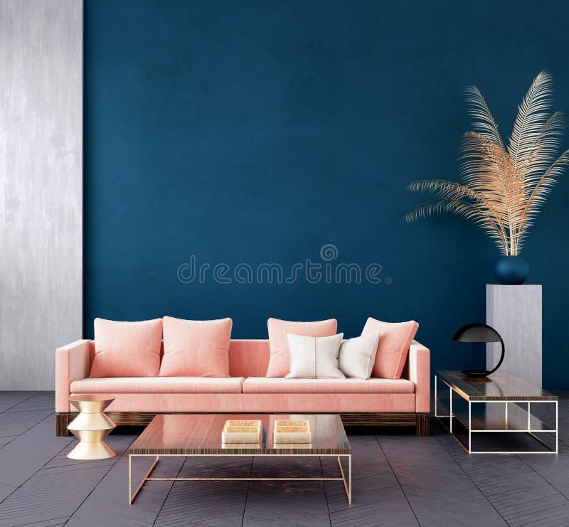 Σύγχρονο σκούρο μπλε εσωτερικό καθιστικών με το ρόδινο καναπέ χρώματος και το χρυσό ντεκόρ, χλεύη τοίχων επάνω ελεύθερη απεικόνιση δικαιώματος