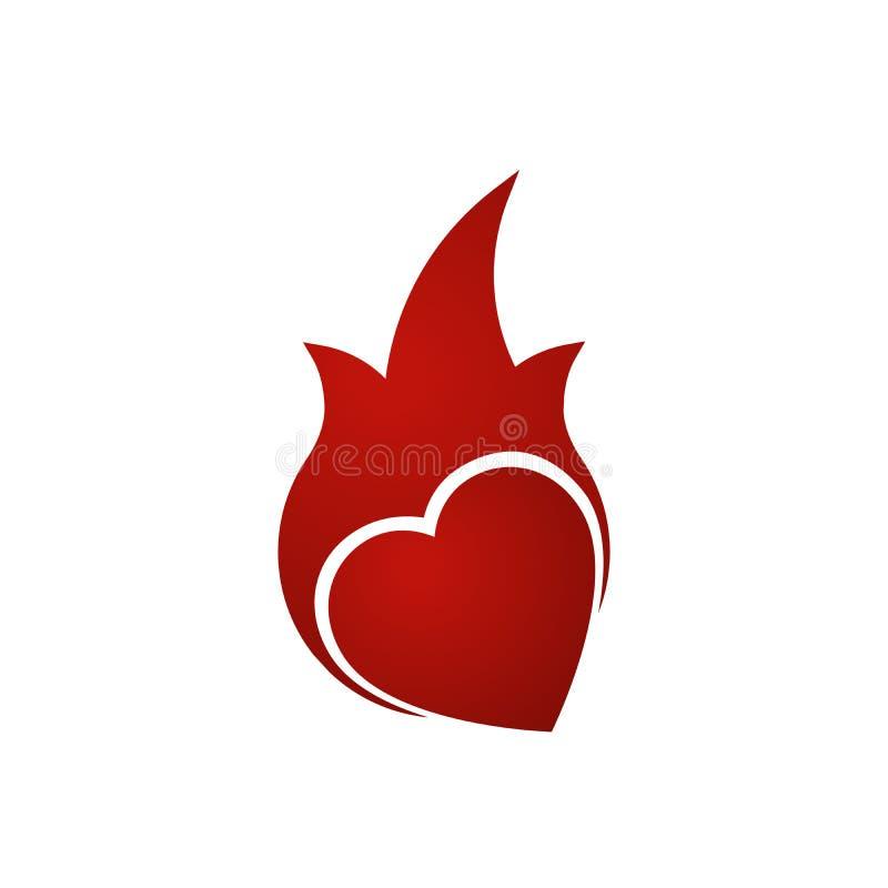 Σύγχρονο σύμβολο εικονιδίων καρδιών φλογών για το γραφικό και σχέδιο Ιστού καυτή αγάπη Διανυσματική απεικόνιση που απομονώνεται σ διανυσματική απεικόνιση