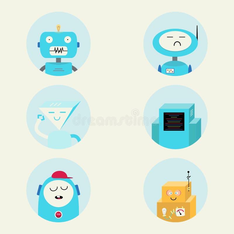 Σύγχρονο συνομιλίας BOT χαρακτήρα σημαδιών σύνολο απεικόνισης εικονιδίων διανυσματικό ελεύθερη απεικόνιση δικαιώματος