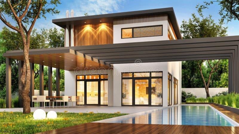 Σύγχρονο σπίτι πολυτέλειας με το μεγάλες πεζούλι και την πισίνα απεικόνιση αποθεμάτων