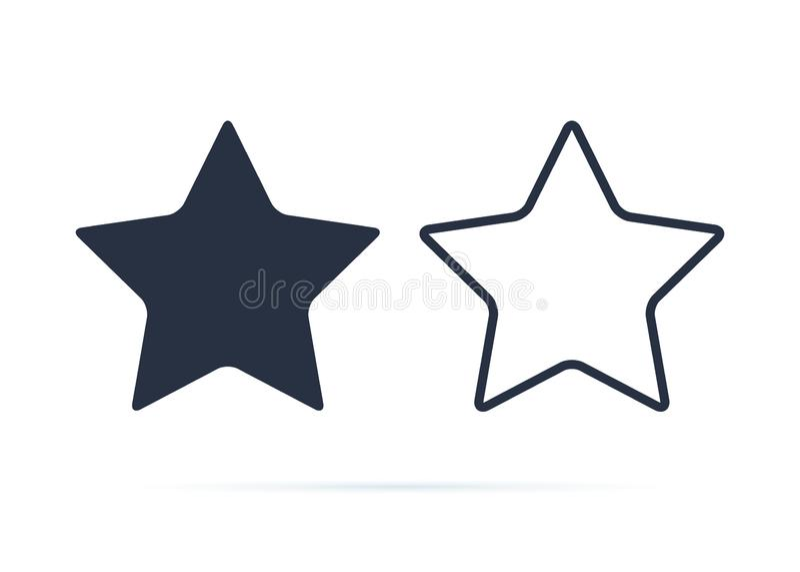 Σύμβολο αστεριών, διάνυσμα εικονιδίων αστεριών Ανταμοιβή, κουμπί συμβόλων εκτίμησης Εικονίδια στερεών και γραμμών που τίθενται γι ελεύθερη απεικόνιση δικαιώματος