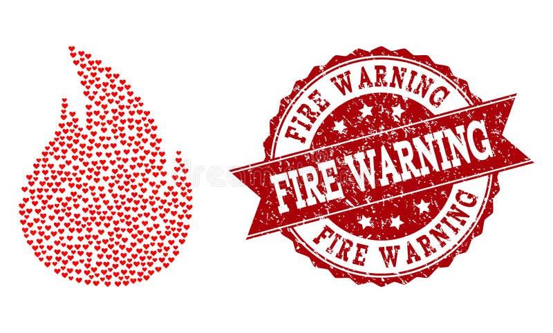 Σύνθεση καρδιών βαλεντίνων του εικονιδίου πυρκαγιάς και του υδατοσήμου Grunge απεικόνιση αποθεμάτων