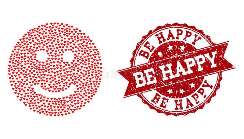Σύνθεση καρδιών βαλεντίνων του ευτυχούς εικονιδίου Smiley και του λαστιχένιου υδατοσήμου διανυσματική απεικόνιση