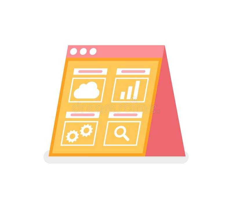 Σύννεφο και διάγραμμα, διάνυσμα έρευνας και App τοποθετήσεων ελεύθερη απεικόνιση δικαιώματος