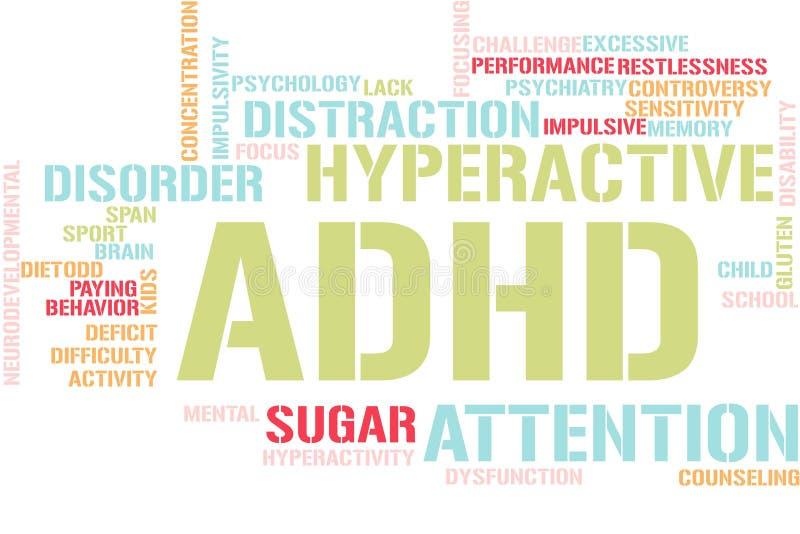 Σύννεφο λέξεων με ADHD απεικόνιση αποθεμάτων