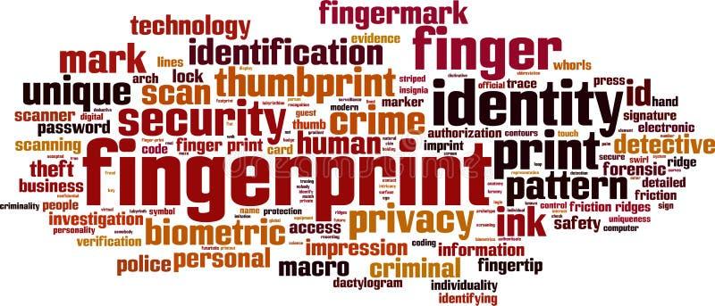 Σύννεφο λέξης δακτυλικών αποτυπωμάτων ελεύθερη απεικόνιση δικαιώματος