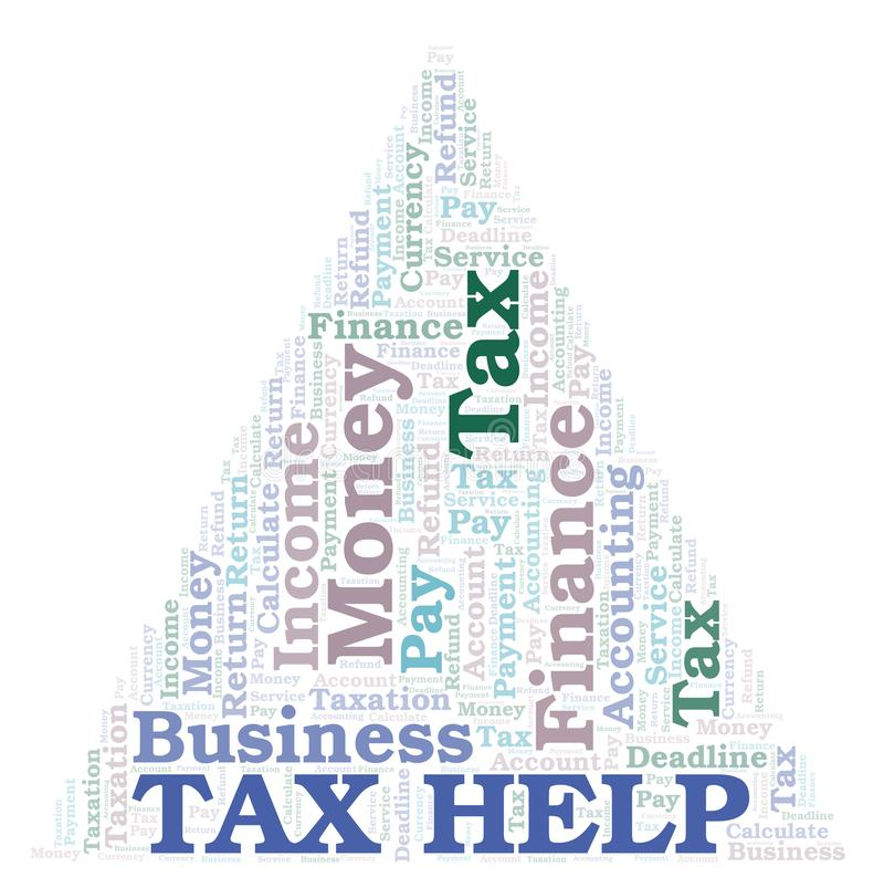 Σύννεφο λέξης φορολογικής βοήθειας διανυσματική απεικόνιση
