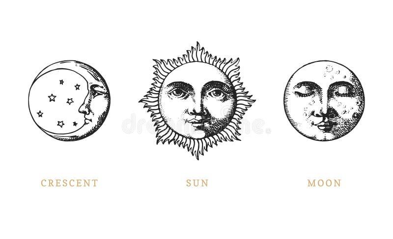 Σύνολο ήλιου, φεγγαριού και ημισελήνου, χέρι που σύρεται στο ύφος χάραξης Διανυσματικές γραφικές αναδρομικές απεικονίσεις απεικόνιση αποθεμάτων