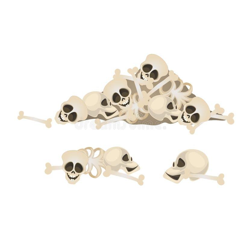 Σύνολο ανθρώπινων κρανίων και κόκκαλων που βρίσκεται σε έναν σωρό που απομονώνεται στο άσπρο υπόβαθρο Φοβερές ιδιότητες του εορτα απεικόνιση αποθεμάτων