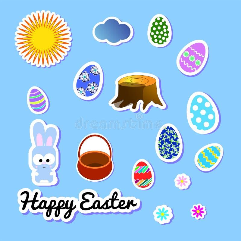 Σύνολο αυτοκόλλητων ετικεττών χαιρετισμού Πάσχας με το λαγουδάκι, λουλουδιών, αυγών, σύννεφου, ήλιου, κολοβώματος και καλαθιού Sc διανυσματική απεικόνιση