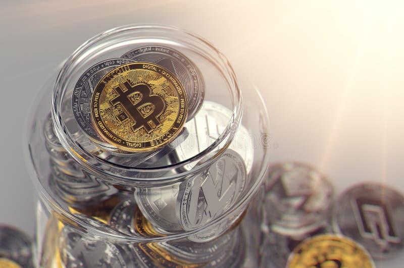 Σύνολο βάζων των cryptocurrencies με χρυσό Bitcoin στις ακτίνες κορυφών και ήλιων Εικονική δημιουργική έννοια πορτοφολιών Ρεαλιστ απεικόνιση αποθεμάτων