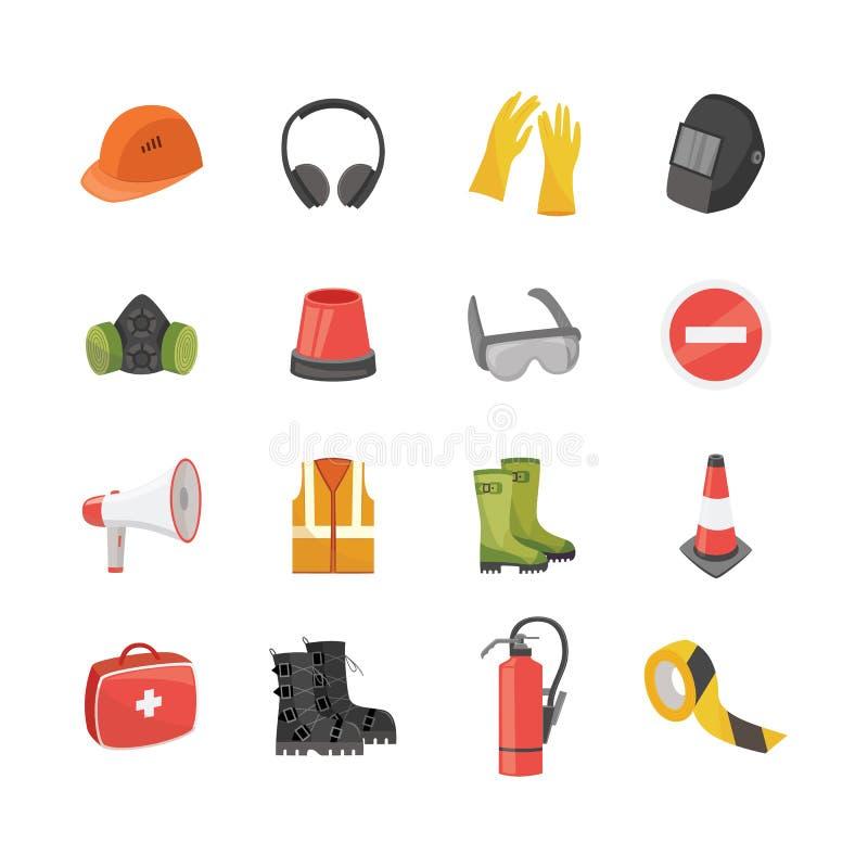 Σύνολο εικονιδίων εξοπλισμού ασφάλειας για την εργασία και προστατευτικής ενδυμασίας στο επίπεδο ύφος κινούμενων σχεδίων ελεύθερη απεικόνιση δικαιώματος