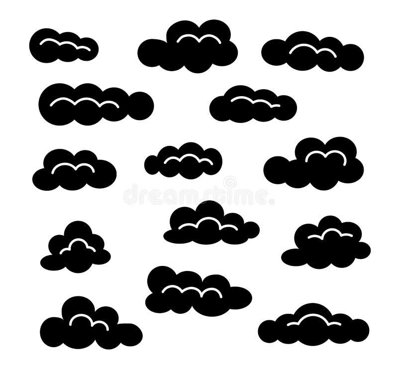 Σύνολο εικονιδίων σύννεφων Διανυσματικά επίπεδα σημάδια Ουρανός Cloudscape Απομονωμένα αντικείμενα διανυσματική απεικόνιση